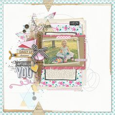 lots of layers in this #scrapbook page by Lisa at #designerdigitals