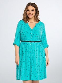 Plus Size Feather Print Shirt Dress, FEATHER AWAY