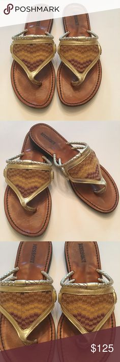Missoni sandals Fabulous Missoni sandals. These flip flops are so pretty the gold really stands out. These shoes are in good condition the bottom of the shoes have some wear. They are a size 37 which is 7. I am willing to accept reasonable offers. Missoni Shoes Sandals