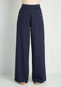 Every Opportunity Pants in Navy. You take any opportunity to go above and beyond so today, you apply your next-level attitude to your style by wearing these wide-legged navy trousers. #blue #modcloth
