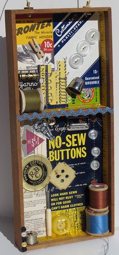 What to do with old sewing notions: make a shadow box.