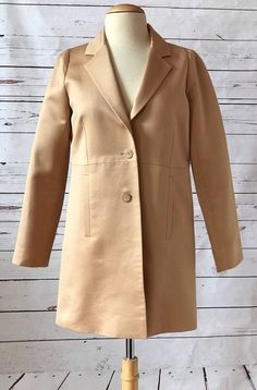CHLOE Womens Two Button Coat Jacket Size 36 US 4 Tan Beige Made In France #Chlo #BasicCoat