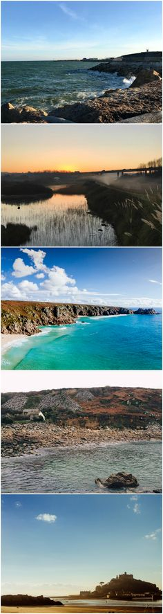 Cornwall: the perfect holiday destination. From top to bottom: Newlyn Harbour, Hayle Estuary, Porthcurno, Lamorna Cove, St Michael's Mount near Penzance.