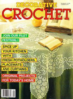Ravelry: Decorative Crochet Magazine, May 1989 - patterns Crochet Doily Diagram, Filet Crochet Charts, Crochet Doily Patterns, Crochet Designs, Crochet Doilies, Crochet Books, Crochet Home, Thread Crochet, Crochet Bedspread