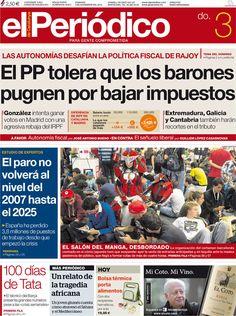 Los Titulares y Portadas de Noticias Destacadas Españolas del 3 de Noviembre de 2013 del Diario El Periódico ¿Que le pareció esta Portada de este Diario Español?