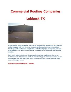We're a dedicated roofing company with over 20+ years of experience. Responsive services, vast roofing knowledge, skilled technicians & applicators, and efficient project management, are some of the qualities ACR offers. We also provide a complete line of roofing and waterproofing solutions. Each roof is unique with its own design, specifications, and requirements. One of our technicians at ACR Commercial would be more than happy to offer a professional, on-site assessment of your roof…