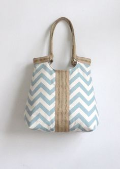 Blue chevron carry on hobo bag with burlap by madebynanna on Etsy, $65.00  Spring/Summer tote