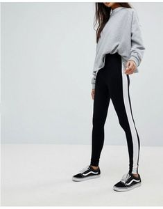 Buy ASOS DESIGN leggings with side stripe at ASOS. With free delivery and return options (Ts&Cs apply), online shopping has never been so easy. Get the latest trends with ASOS now. Designer Leggings, Normcore, Sweatpants, Style Inspiration, My Style, Shopping, Tae Bo, Wattpad