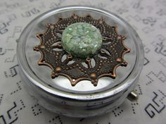 Pill Case Box Container Glittery Green by MirrorsByMiMi on Etsy, $12.00