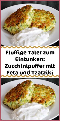 Fluffy thalers to soak up: zucchini pancakes with feta and tzatziki Simple rec . - Fluffy thaler to soak up: zucchini pancakes with feta and tzatziki Simple recipes salad - Meat Recipes, Crockpot Recipes, Dinner Recipes, Healthy Recipes, Simple Recipes, Tzatziki, Vegetable Recipes For Kids, Law Carb, Vegetarian Breakfast Recipes