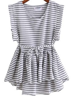 bbd5b84fac Preppy Striped Peplum Regular Fit Round Neck Sleeveless Black and White  Striped Waist Tie Dip Hem Top with Belt