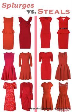 Little Red Dress!  Splurge vs Steal-Pucker Up  http://www.meredithandthenewyorkie.com/2012/10/splurges-vs-steals-the-lrd.html