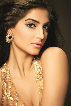 Sonam Kapoor posing for L'Oreal Paris' Cannes l'or lumiere collection.