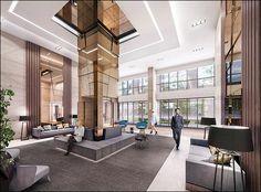 Super Sonic Condos is a new condominium development at Eglinton Ave East & Don Mills Road,Toronto, ON. This development has a total of 299 condo units 30 Lobby Interior, Interior Photo, Modern Condo, Midcentury Modern, Toronto Condo, Lobby Design, New Condo, Plan Design, Layout Design