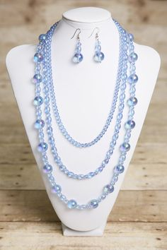 Iridescent Blue Glass Necklace and Earrings by jewelrystyleandmore, $76.00