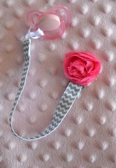White/Grey Chevron Universal Pacifier Clip With Shabby Flower for Baby Girl on Etsy, $4.95