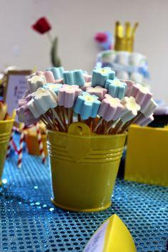 Chá de Fraldas ~ Menino ~ Pequeno Príncipe ~ Chá de Fraldas no Trabalho ~ DIY ~ Faça Você Mesma ~ Flores de Marshmallow