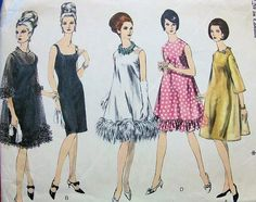 1960s EVENING DRESS PATTERN SLIM COCKTAIL SHEATH WITH OVER DRESS 5 VERSIONS VOGUE SPECIAL DESIGN 6767