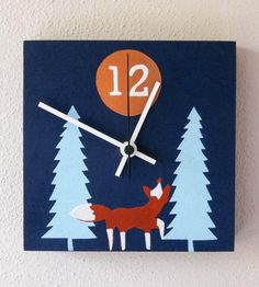 Hand-Printed Wood Fox Forest Clock | This wood clock features a hand-printed forest scene, complete... | Wall Clocks