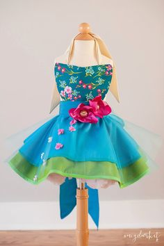 Elsa from Frozen Fever inspired Dress Up Costume Apron, Full Apron Style, Frozen Fever Gown....Made to Order