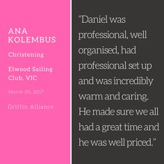 Wonderful to get feedback for one of the awesome events from client Ana Kolembus at Elwood Sailing Club, VIC from 05/03/2017 #griffinalliance #eventsdj #EventsVictoria #VictoriaEvents #MagicDance #Melbourneeventsdj #Kolembus #AnaKolembus #Christening #ElwoodSailingClub #FunEvents #DJDan #DanielToop #VintageEvents #melbourneweddinggroup