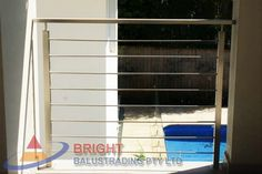 Stainless Steel Rod Balustrade:-Stainless steel double flat bar posts with pin & OD top rail with OD horizontal rod infills. Stainless Steel Balustrade, Stainless Steel Rod, Metal Working, Ladder Decor, Metalworking, Stainless Steel Bar, Stainless Steel Railing