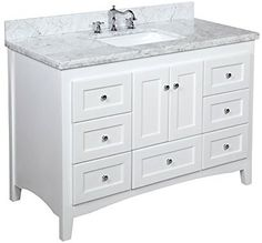"Kitchen Bath Collection KBC388WTCARR Abbey Bathroom Vanity with Marble Countertop, Cabinet with Soft Close Function and Undermount Ceramic Sink, Carrara/White, 48"" - - Amazon.com"