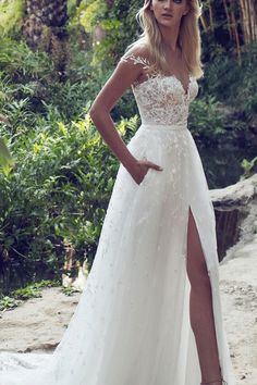 Lace Boho Off the shoulder Cap Sleeves Long Country Slit Wedding Gown, Beach Wedding Dress #weddingdresses #laceweddingdresses #wedingdress2018