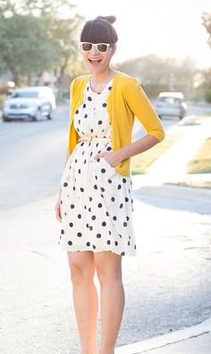 Country Casual. I like the mix of bright color cardigan and the polka dot dress