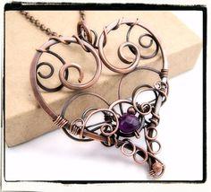 004 Filigree Heart Purple Amethyst Gemstone Wire Wrapped Antique Copper Pendant