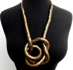 Vintage 80s Snake Necklace in Brass to be any by ShopGlammasAttic, $18.00