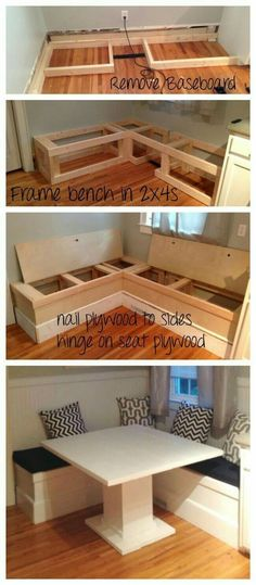 Simple DIY bench for small entrance area (with free plans) - Making ManzanitaWould you like to learn how to build a DIY bank? Watch this video and get free plans for wooden benches so you Kitchen Table Bench, Kitchen Banquette, Kitchen Seating, Banquette Seating, Corner Banquette, Corner Table, Kitchen Storage Bench, Corner Nook, Corner Bar