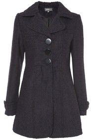 Purple Three Button Herringbone Coat