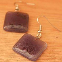 Elegant Mauve Fused Glass Earrings   beaded earrings   fair trade