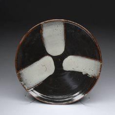 Artist: Warren MacKenzie, Title: Tenmoku Platter w/ White Pours - click on image to enlarge