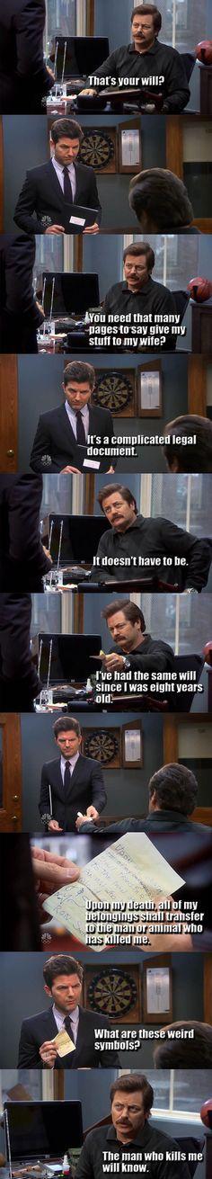 Ron Swanson's Will Is Epic