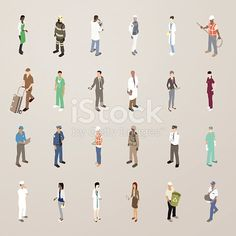 This detailed set of 24 icons is illustrated in a flat vector style. People wear uniforms or are dressed for work, including: a barista ; firefighter in full gear; scientist with microscope;...