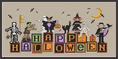 Small Cross Stitch, Cross Stitch Needles, Cross Stitch Alphabet Patterns, Cross Stitch Charts, Cross Stitching, Cross Stitch Embroidery, Halloween Design, Halloween Crafts, Happy Halloween
