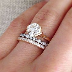 Old Mine Cut Solitaire Set In 4 Double Gs On Cathedral Yellow Gold Band With French And Segmented Wedding Bands