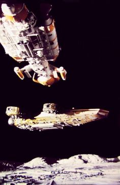 A Hawk attacks an alien space craft in this Space:1999 publicity photo.