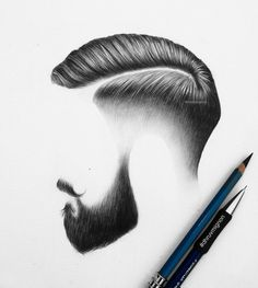 Hair and beard detailed work. Mens Hairstyles With Beard, Hair And Beard Styles, Haircuts For Men, Men's Hairstyles, Facial Hair Styles, Barber Hairstyles, Drawing Hairstyles, Beard Art, Barbershop Design