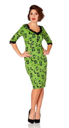 Voodoo Vixen Rockabilly 50S Retro Vintage Raining Cat Pencil Dress Price   £42.99 a9d0d1357