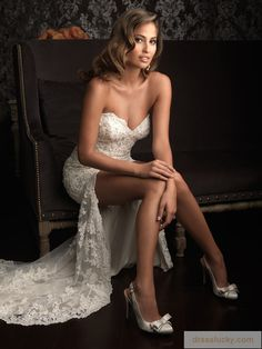 Ordered it in White - Excellent Unique Sexy High Low Lace Wedding Dress Front Short And Long Back Bridals