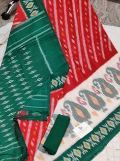 Ikkat Weaving Red Pure Cotton Saree With White and Green Border CODE: M0319IK431802 COST : 4000 INR Cotton Saree, Cotton Silk, Whatsapp Messenger, Christmas Stockings, Sarees, Weaving, Coding, Holiday Decor, Red