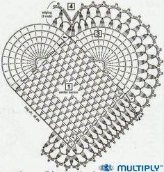 confira o gráfico para fazer tapete de crochê em forma de coração com  flores e libélulas