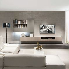 Contemporary TV wall unit / elm / melamine Z409 ZALF