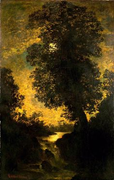 A Waterfall, Moonlight. Ralph Albert Blakelock. American painter. (1847- 1919).