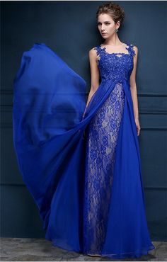 Stunning Illusion Neckline Sleeveless Royal Blue Chiffon Lace Prom Dress
