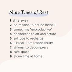 Nine types of rest & self care for self love Relation D Aide, Note To Self, Self Development, Personal Development, Leadership Development, Self Improvement, Self Care, Self Help, Wise Words