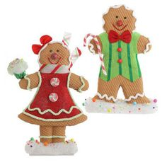 """RAZ Gingerbread Boy and Girl Set of  Whimsical Gingerbread Boy and Girl Set includes one of each Red, Green, Brown Made of Polyfoam Measures 20"""" X 11"""" X 3"""", 17"""" X 12"""" X 4  Gingerbread girl"""